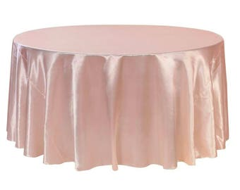 Blush 120 Inch Round Satin Tablecloth | Wholesale Wedding Tablecloth, Round  Table Linens