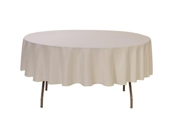 Ivory 90 Inch Round Polyester Tablecloth | Wedding Tablecloth