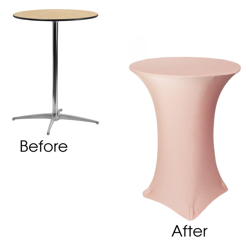 Spandex Table Covers Blush 30 Inch Highboy Cocktail Round Stretch Spandex Table Cover