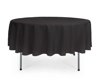 Black 90 Inch Round Polyester Tablecloth    Wedding Tablecloth,Catering Tablecloth, Banquet Tablecloth