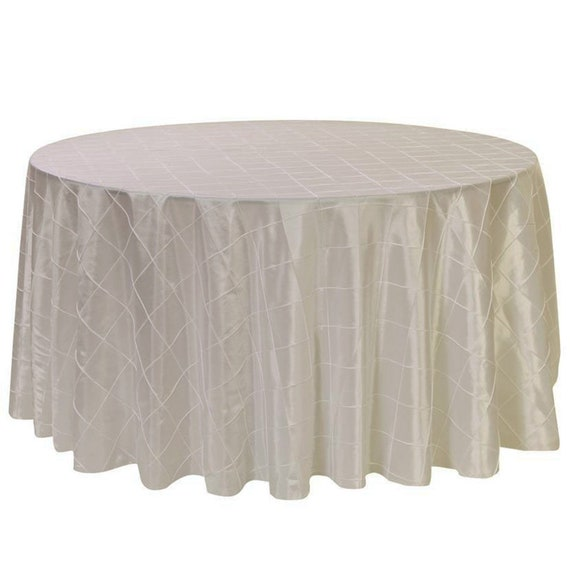 Ivory 120 Inch Round Pintuck Tablecloth Wholesale Wedding | Etsy