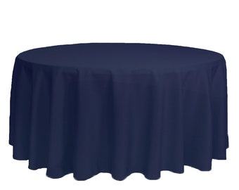 Navy Blue 132 Inch Round Polyester Tablecloth   Wedding Tablecloths