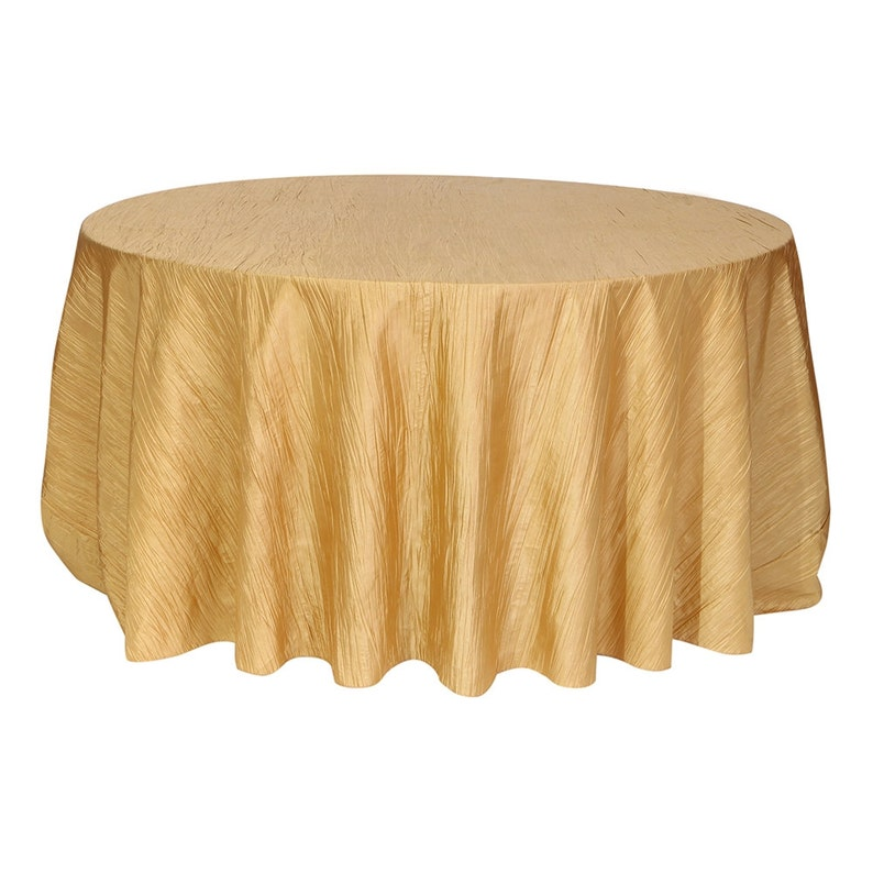 Gold 120 Inch Round Crinkle Taffeta Tablecloth | Wholesale Wedding  Tablecloth, Round Table Linens