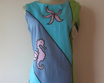 1960s Seahorse Shift Dress