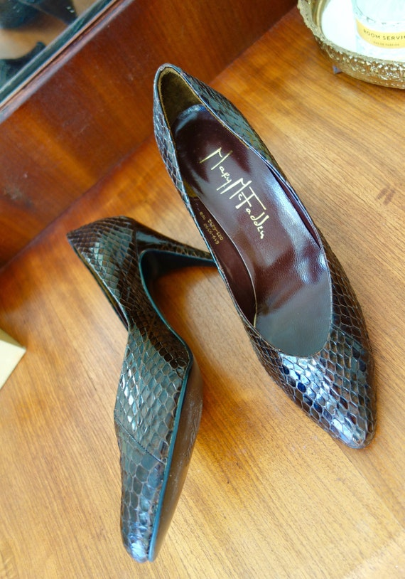 1980s Mary McFadden Snakeskin Heels