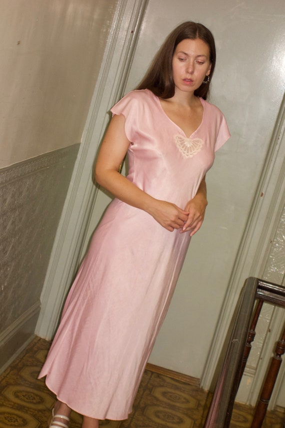 1980s Pink Butterfly Night Gown