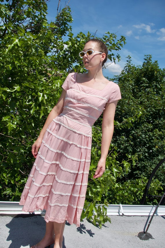 1950s Pink Gingham Dress