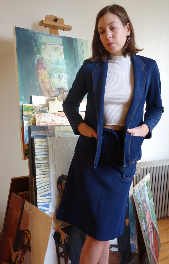 1970s Two Piece Skirt Suit