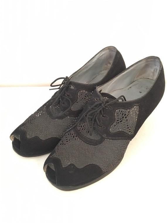 1940s Sheer Peep Toe Shoes