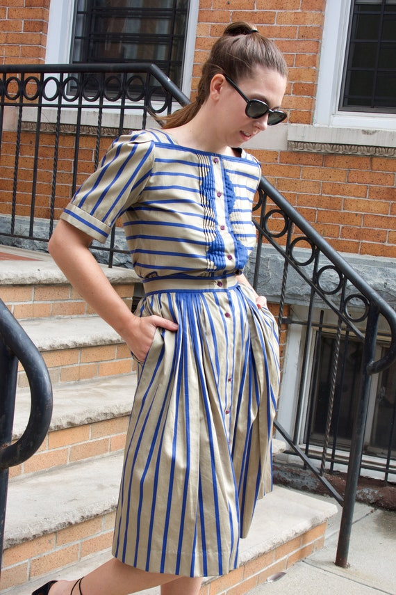 1980s Striped Cotton Skirt Set