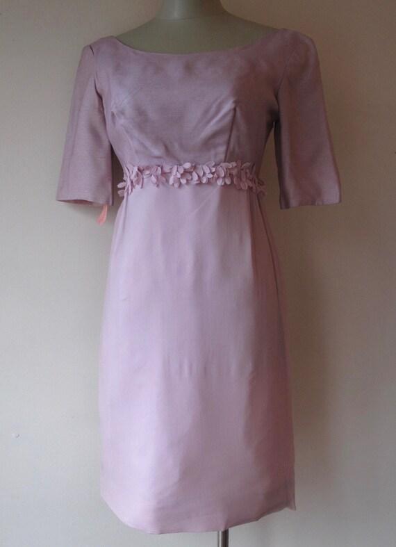 1950s Lavender Dress with Floral Applique