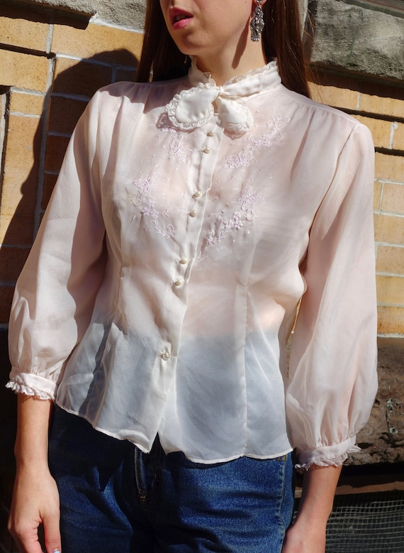 1950s Sheer Butterfly Blouse