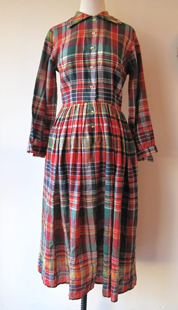 1940s Plaid Dress - image 1