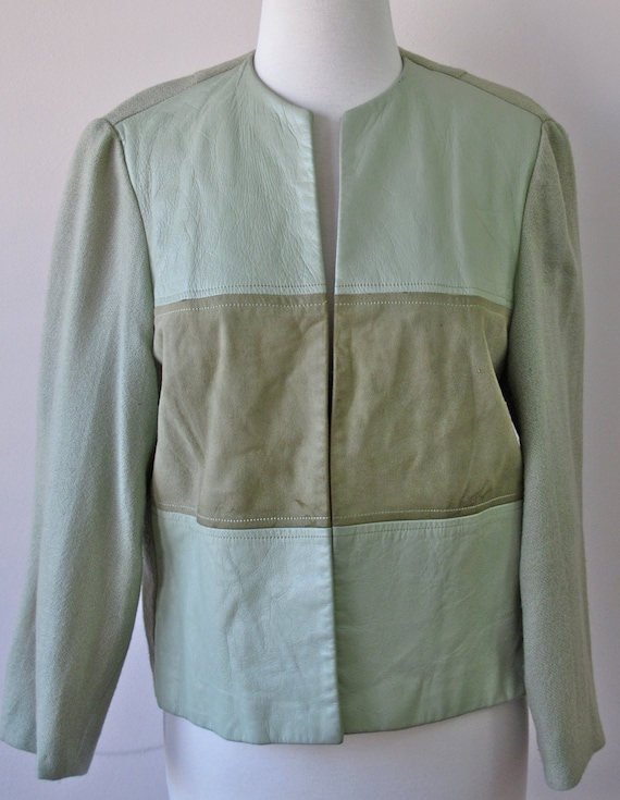 1960s green leather suede and linen jacket