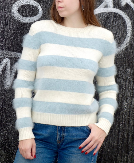 1990s Gucci Blue and White Angora Sweater
