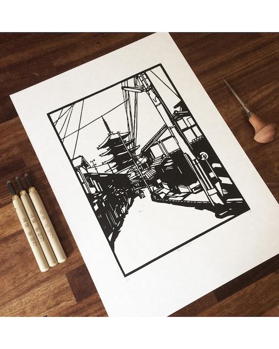 Woman Planet Handmade Lino Print