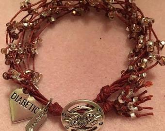 Red waxed linen bracelet