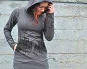 Mountain Print Hoodie, Dark Grey Hoodie, Scuba Hood Sweater, Long Fitted Hoodie, Bamboo Fleece