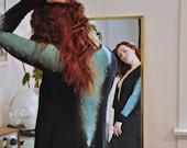 Luxurious Bamboo Robe, Long Black Robe, Galaxy Print Robe, Waterfall Opening