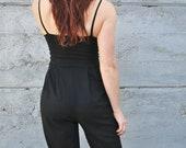 Black Jumpsuit, Black Onesie, Spaghetti Strap Onesie Drop Crotch Pantsuit, Sleeveless Jumpsuit, Bamboo Jersey