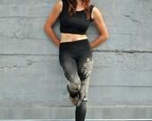 Female Wolf Print Print, Yoga leggings, Bamboo Terry Leggings, Black Leggings, Hand Painted Leggings, Handmade Yoga Tights
