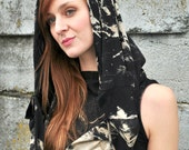 Black Bodycon Dress, Cowl Dress, Distressed Hoodie, Caplet, 3 in 1, Hoodie Dress, Grunge Chic, Little Black Dress, Bamboo Jersey