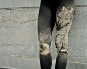 Wolf Print, High Waisted Leggings, Female Wolf, Hand Painted, Bamboo Jersey Leggings