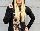 Black Bamboo Hoodie with Oversized Hood // Bamboo Fleece