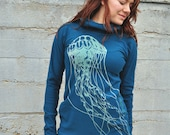 Jellyfish Print, Moroccan Blue Hoodie, Scuba Hood Sweater, Long Fitted Hoodie, Bamboo Fleece