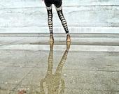 High Priestess Print, Yoga Leggings, High Waisted Pants, Black Leggings, Moon Geometric Print, Handmade Leggings, Bamboo Terry