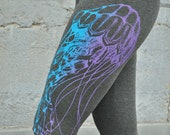 LAST CHANCE to order // High Waisted Grey Leggings, Jellyfish Print, Ombrè leggings, Bamboo Terry , Yoga Leggings // Discontinued Design