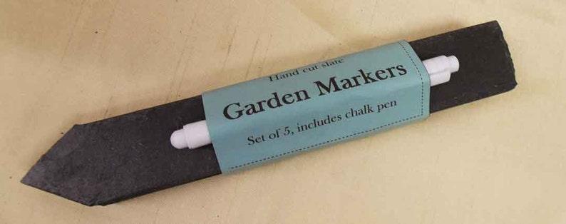 A set of 5 hand cut slate garden markers with liquid chalk pen