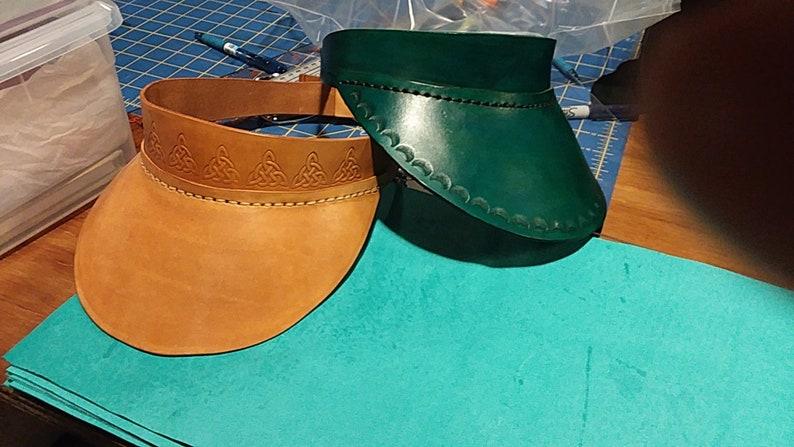 Full Grain Leather Visor Green