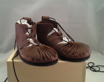 Custom Leather Viking or Renaissance Gillies With Rubber Sole