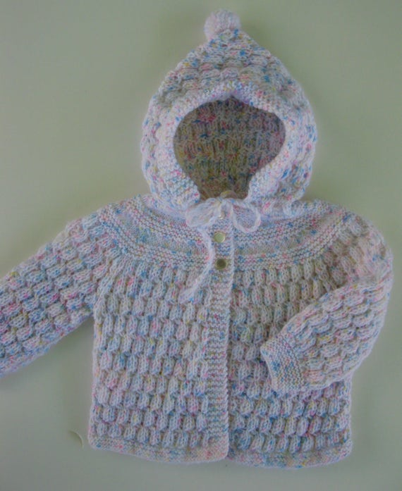 ae9f23546 Hand Knitted White w Pastel Flecks Basketweave Pattern Hooded Sweater 9-12  mos. READY TO SHIP