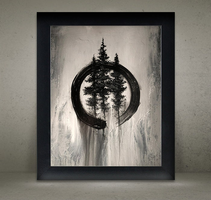 14e7fcf819a8a Zen Circle and Pine Trees Art Print - Enso Circle - Zen Brush Painting -  Instant Download Printable File