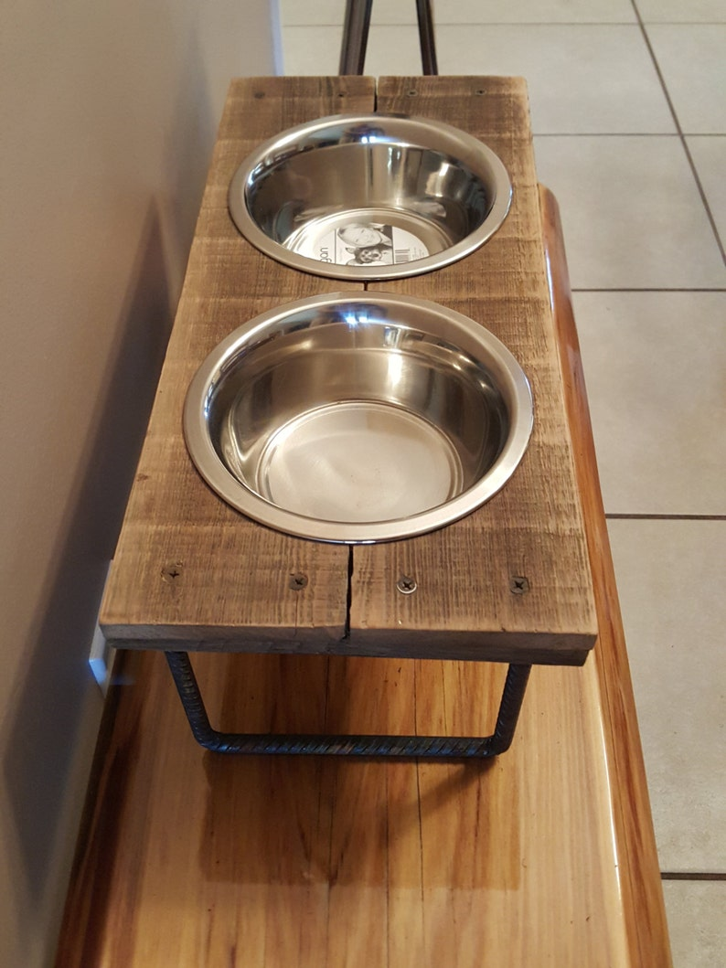 Dog or Cat food bowl Elevated Reclaimed wood with steel legs