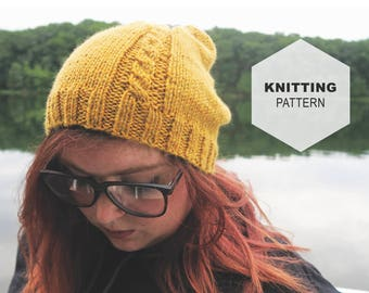 Knitting PATTERN, Madison Slouch Hat, Cable Slouch Hat Pattern, Permission to Sell, Cable Beanie Pattern