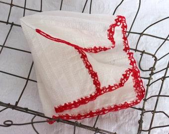 Hankie, White Cotton, Red Crotchet Edging