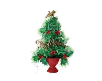 """Plastic Merry Christmas Tree, Wall Hanging, 14"""" tall Kitch Holiday Decor"""