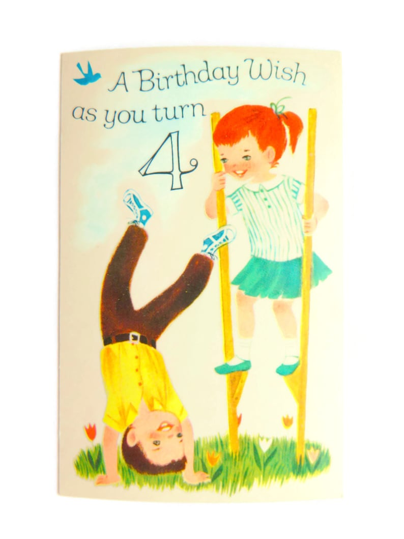 Vintage Childs Birthday Post Card 4 Year Old Boy Or Girl Scripture Verse Unused Greeting