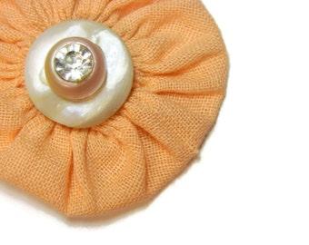 SALE Peachy Pearls & Diamonds Vintage Yo Yo Hairbow / Brooch Pin