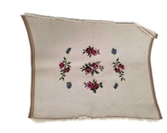 """16"""" x 19"""" Rose Floral Needlepoint Unblocked Unfinished chair Pillow Wall Hanging"""