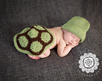 Turtle Shell and Hat Newborn Photo Prop Crochet Pattern, turtle outfit, turtle blanket, turtle shell, newborn photography prop