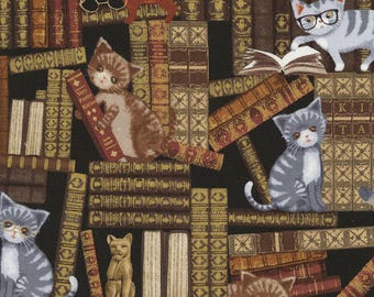 Cats & Kittens in the Library Books Timeless Treasures #7108