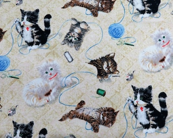 Krafty Kittens Crafts Cream Yarn Spectrix Cotton Sewing Fabric #3506 By the Yard