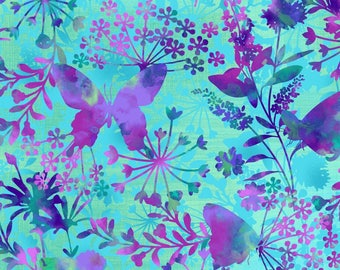 Aqua Butterfly Focal Print Butterflies Studio E #5734 By the Yard