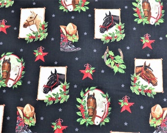 Western Collage Horses Holly Jolly Christmas Robert Kaufman #6287 By the Yard