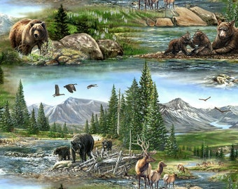 Bear Meadow Wild Animals Scenic Wilmington Prints #5131 By the Yard