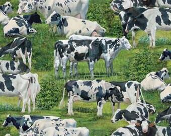 Realistic Farm Animals Adventure Happy Cows David Textiles #5500 By the Yard
